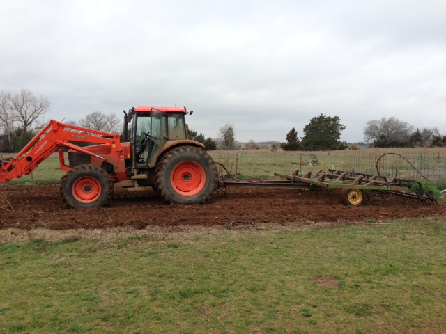 100 HP tractor and a 14' chisel plow on a 30 by 60 garden.